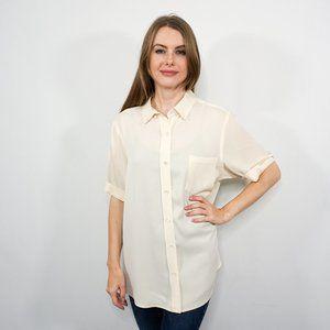 THEORY Cream Stretch Silk Short-Sleeve Blouse